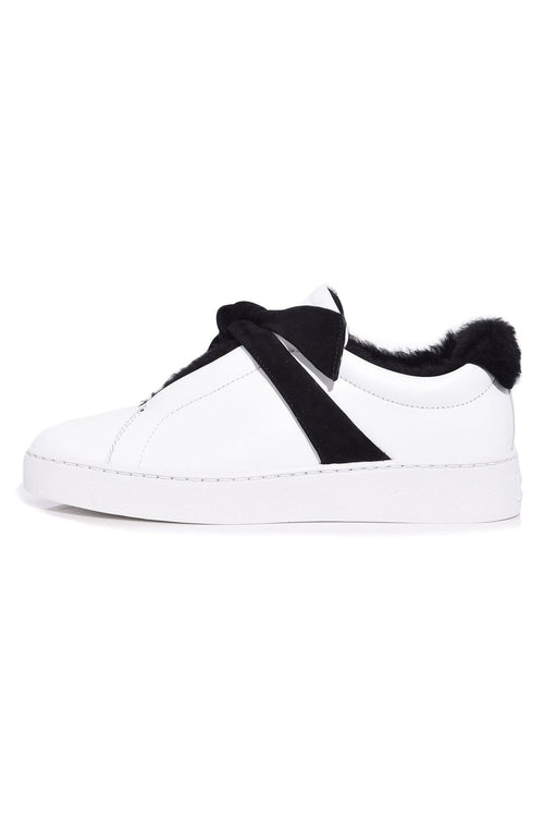 Clarita Fur Sneaker in White/Black