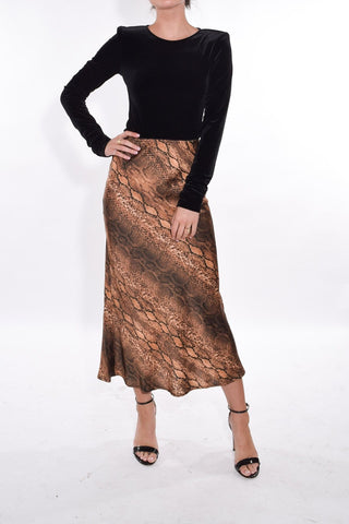 Bella Skirt in Snake Maroon