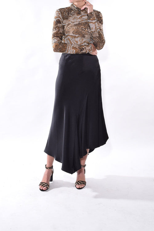 Bailey Silk Skirt in Black