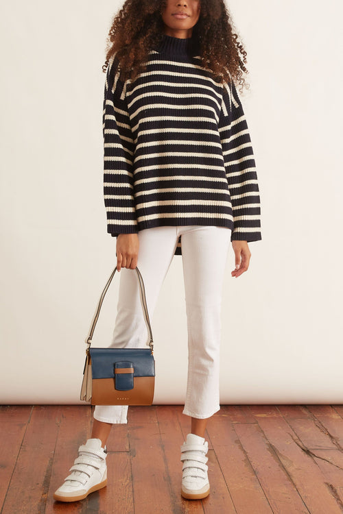 Carolina Oversized Pullover in Navy/White