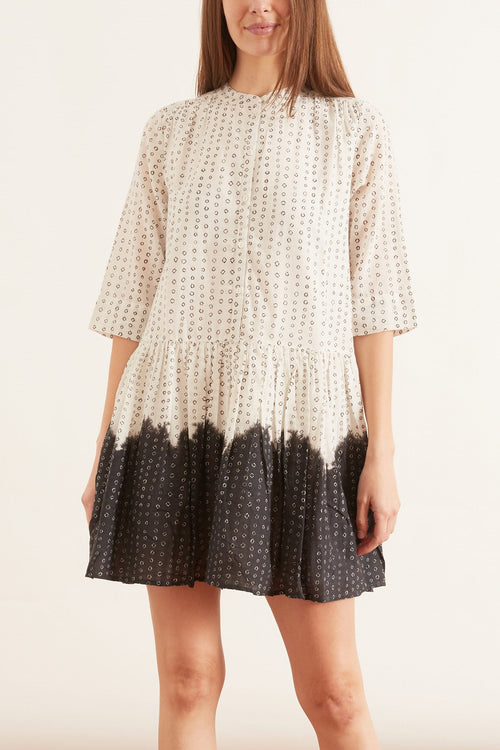 Maurino Drop Waist Mini Dress in Dipped Shibori