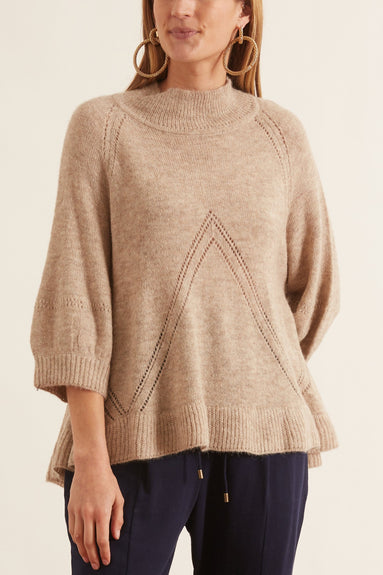 Victoria Mock Neck Knit in Wheat
