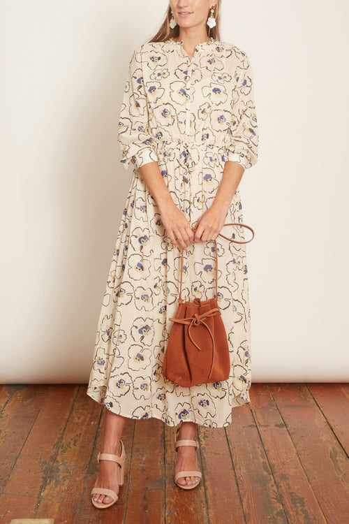 Betina Maxi Shirt Dress in Rosie Floral Cream Multi