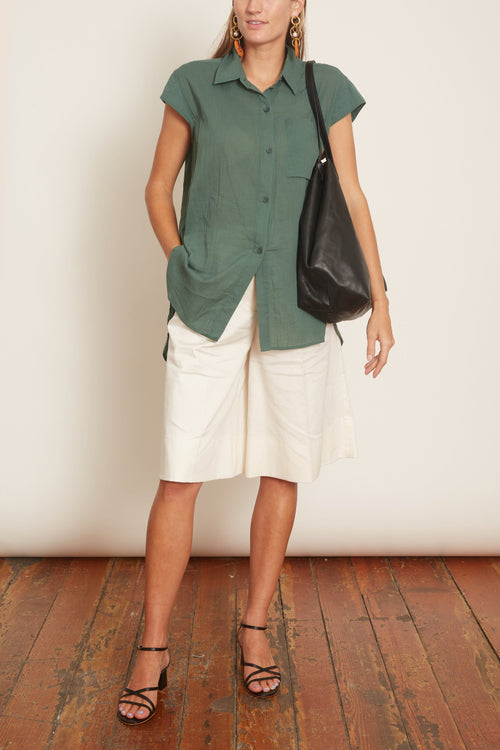 Iza Cap Sleeve Button Down in Sage