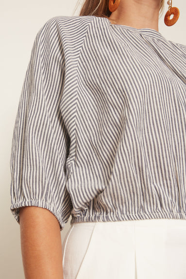 Rosemarie Top in Cream Navy Stripe