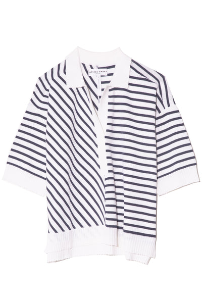 Clara Collar Knit Top in Cream Navy Stripe