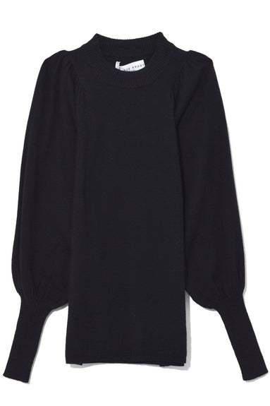 Dewi Puff Sleeve Crewneck in Black