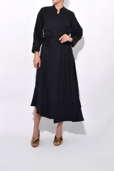 Wild Waves Wrap Dress in Black