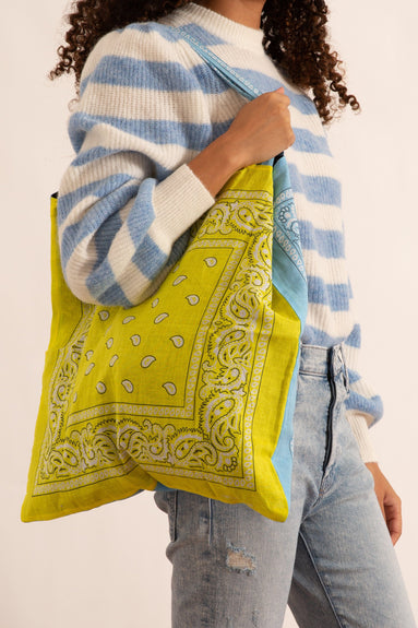 Bandana Beach Bag in Blue/Yellow