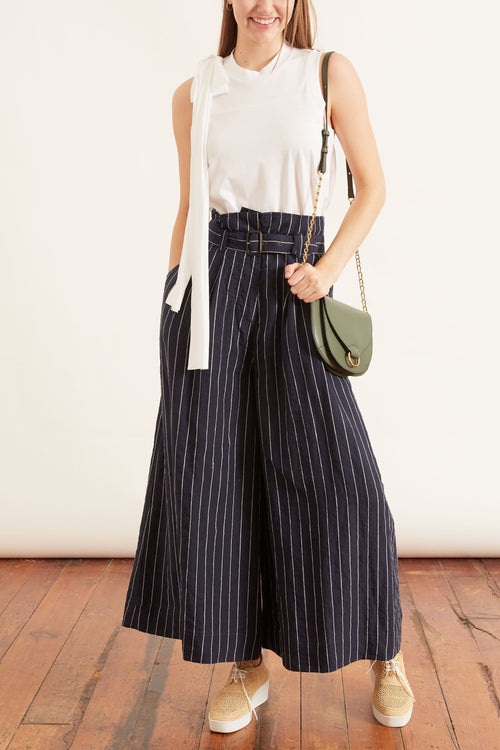Belted Stripe Linen Pant in Navy