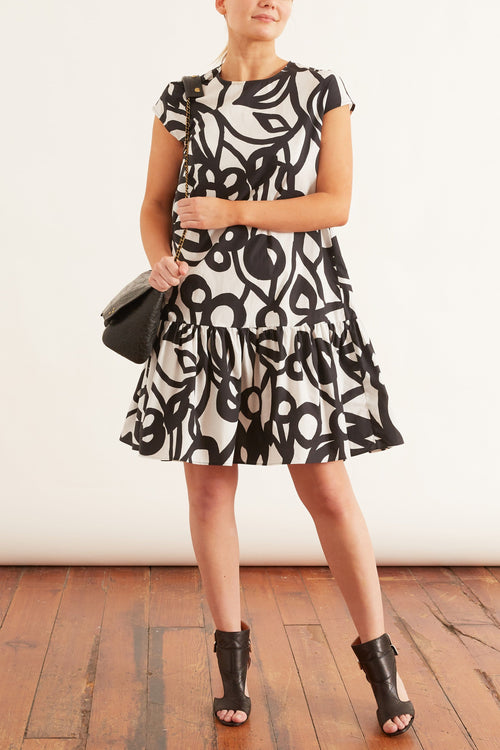 Floral Stamped Cotton Poplin Dress in Black/White