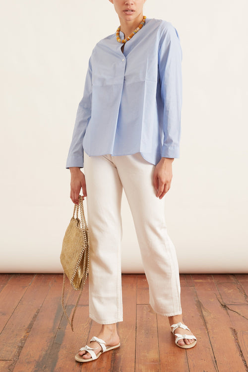 Henley Cotton Blouse in Blue