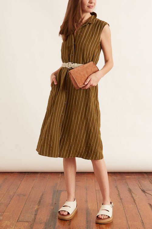 Linen Belted Dress in Military Green Stripe