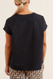 Poplin V-Neck Top in Navy