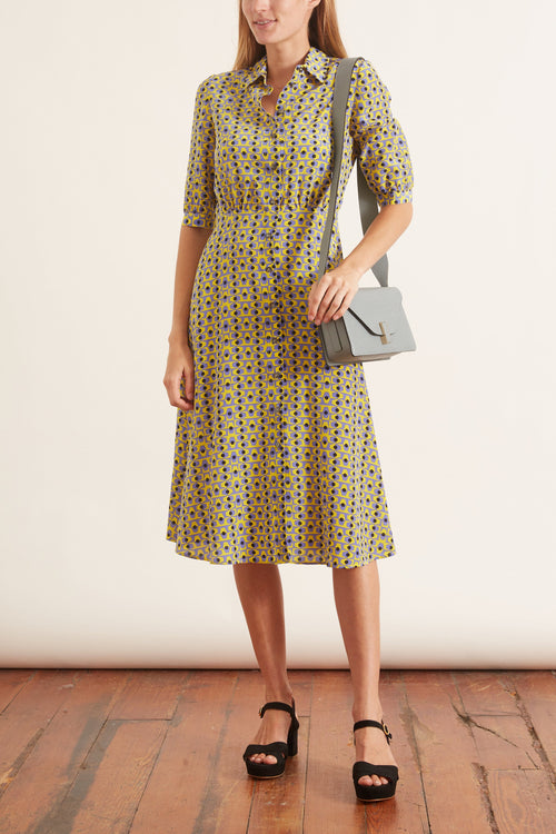Printed Collar Short Sleeve Dress in Yellow/Black