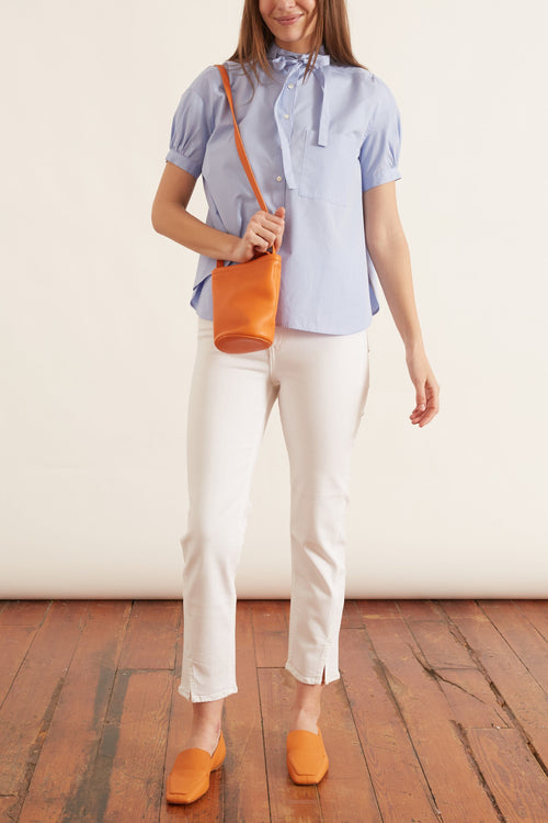 Short Sleeve Tie Neck Blouse in Blue