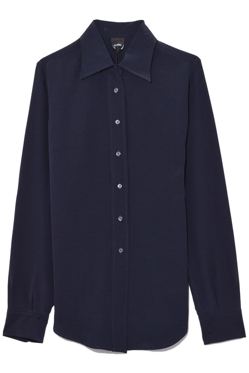 Button Down Collared Shirt in Navy