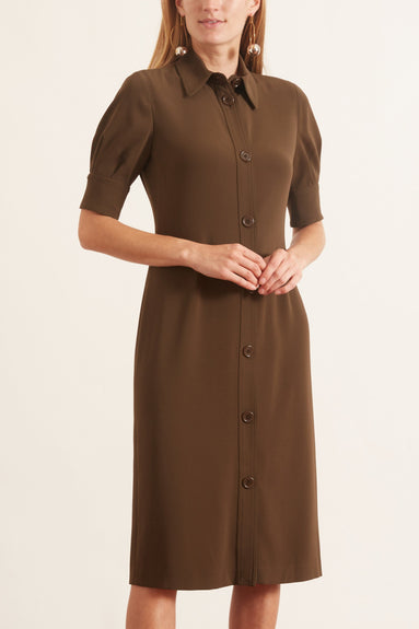 Cady Button Front Dress in Khaki Militaire
