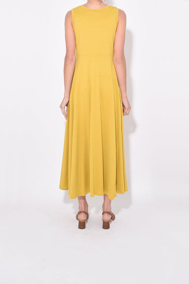 Cotton Jersey Sleeveless Dress in Mustard