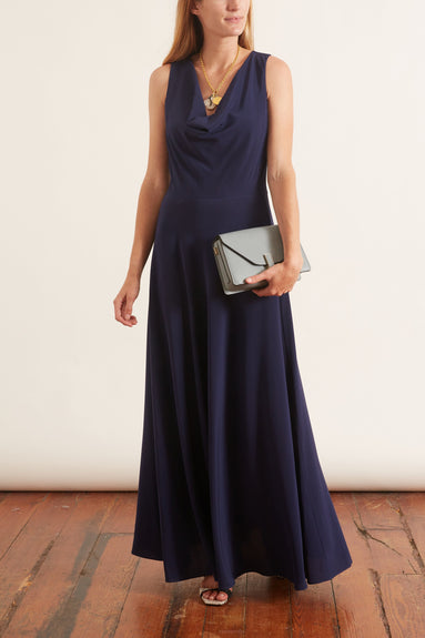 Cowl Neck Gown in Navy Solid