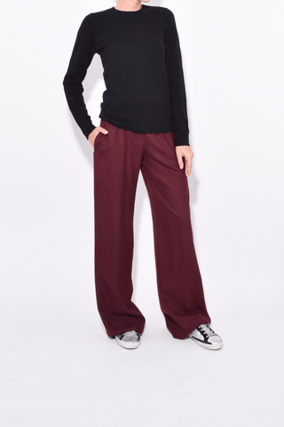 Elastic Waist Wide Leg Pant in Bordeaux