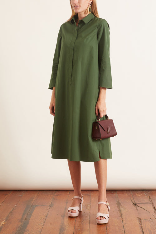 Henley Cotton Dress in Green
