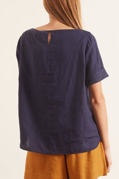 Linen Short Sleeve Blouse in Navy