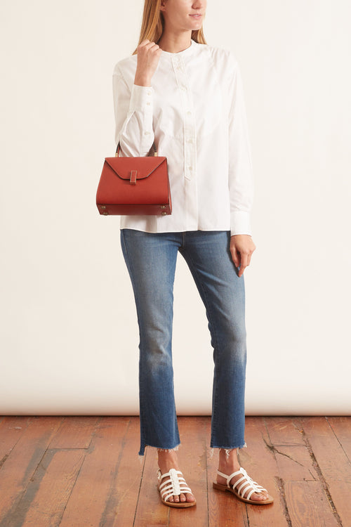 Mock Neck Blouse in White