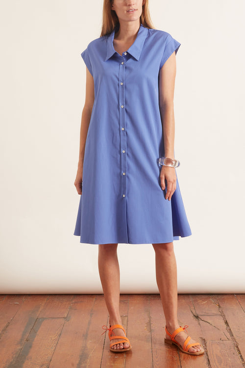 Poplin A-Line Dress with Collar in Blue