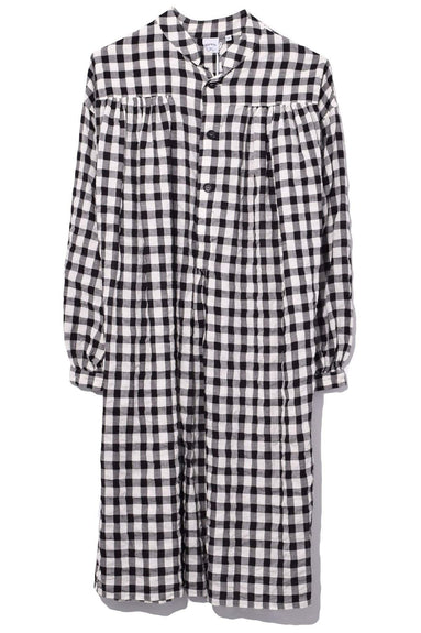 Seersucker Madras Bubble Dress in White/Black