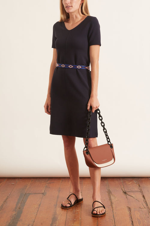 V-Neck Jersey Dress in Navy