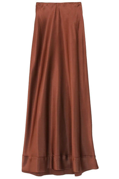 Stella Satin Skirt in Chocolate