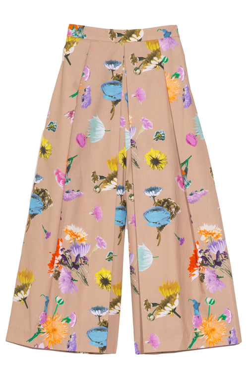 Arya Print Pleated Pant in Khaki Multi