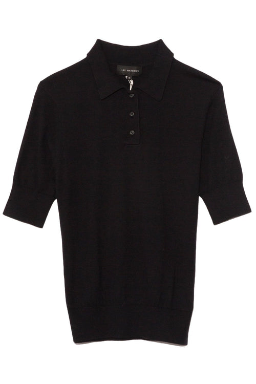 Cotton Cashmere Polo in Black