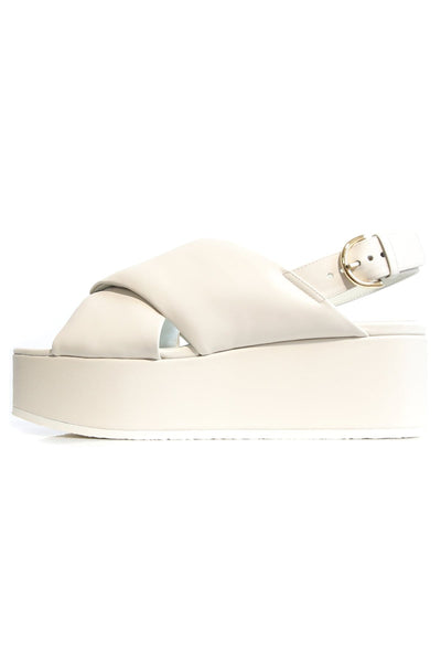 Crossover Platform Sandal in White