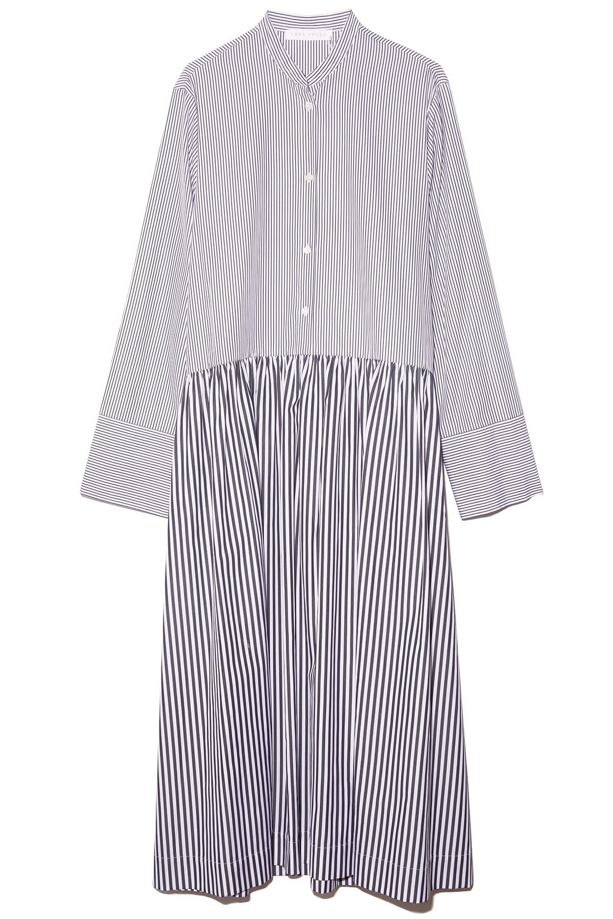 Cotton Dropped Waistline Striped Print Long Sleeves Shirt Dress