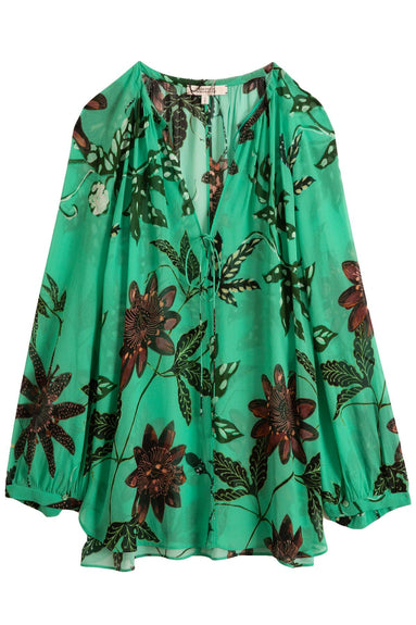 Floral Transparencies Blouse in Green Passiflora TS