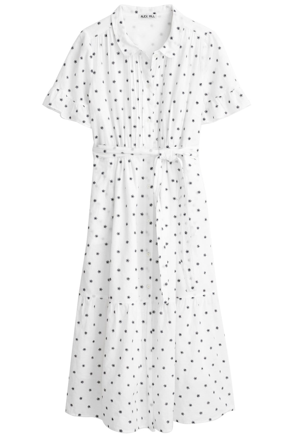 Cotton Embroidered Sheer Collared Dress With a Sash