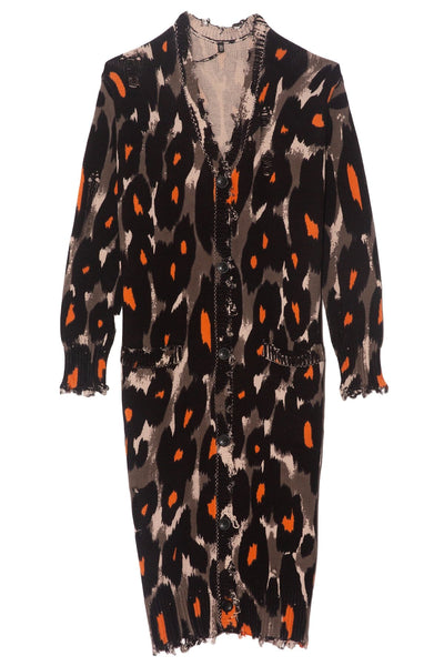 TS Long Cotton Leopard Cardigan in Grey/Orange Leopard