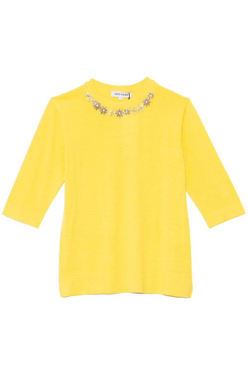 Knit Top with Jeweled Neckline in Yellow