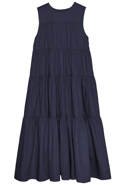 Sleeveless Tiered Midi Dress in Navy