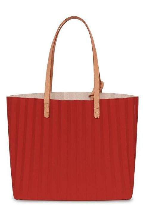Waxed Canvas Pleated Tote in Flamma