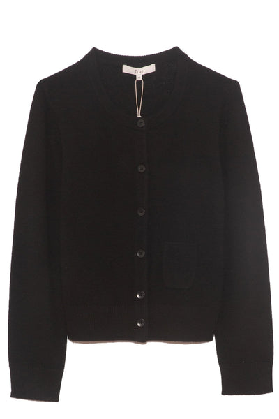 Featherweight Cashmere Shrunken Cardigan in Black