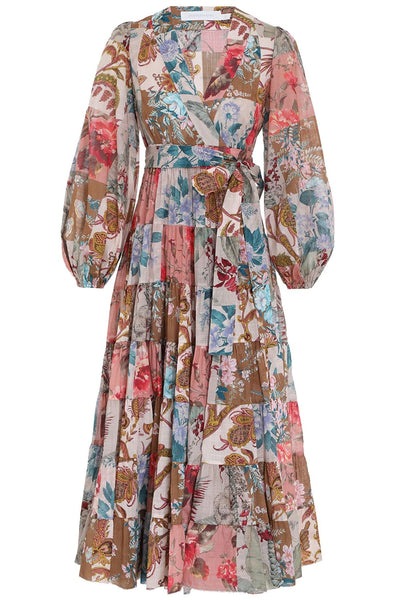 Cassia Patch Wrap Midi Dress in Patchwork Floral