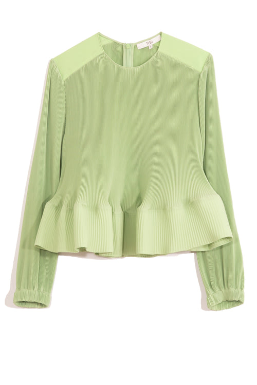 Pleating Long Sleeve Top in Mint