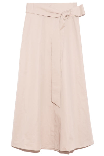 Eco Poplin Back Wrap Skirt in Light Stone