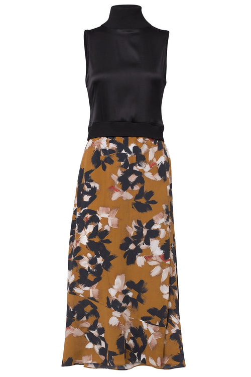 Floral Graphics Dress in Caramel Flowers on Black