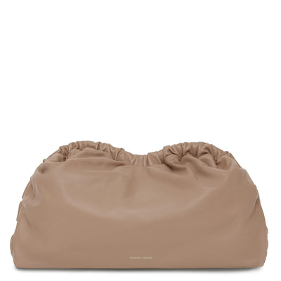 Lambskin Cloud Clutch in Biscotto