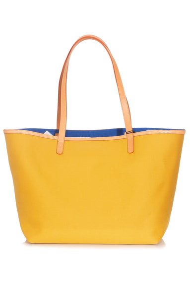 Heavy Canvas Shopping Tote in Mustard/Royal