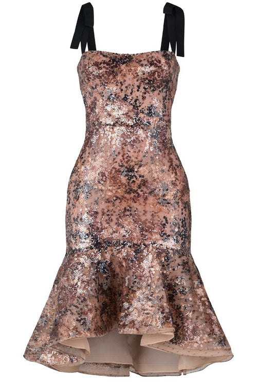 Helena Dress in Neutral Black Sequins
